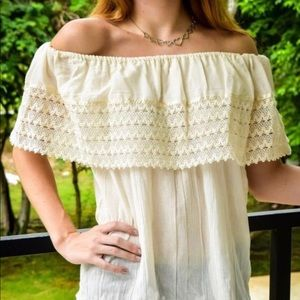 Mexican Cream Top Off the shoulder Blouse w/ Lace